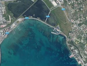 Lungomare Granatello Augusta visto dal satellite
