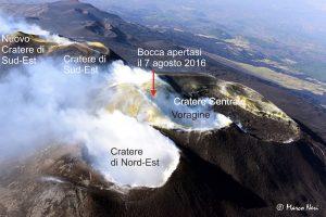 Vista aerea da Nord della cima dell'Etna, con l'indicazione dei crateri sommitali. La fotografia è stata scattata il 14 Luglio 2016, durante il sorvolo di monitoraggio vulcanico effettuato con l'ausilio dell'elicottero AW139 in dotazione al 2° Nucleo Aereo della Guardia Costiera di Catania. Un fitto campo di fratture attraversa l'intera area sommitale del vulcano sin dall'eruzione di maggio 2016, caratterizzato da diffuse emissioni fumaroliche. Lo zolfo presente nelle fumarole, a contatto con l'atmosfera, si deposita formando cristalli (sublimati) che hanno il caratteristico colore giallastro. La freccia rossa indica la posizione della bocca apertasi il 7 agosto 2016, all'interno di questo campo di fratture.