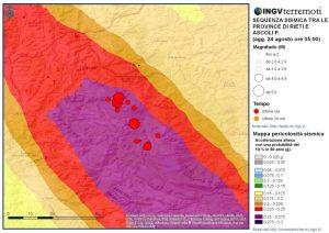 Figura 2 - Mappa della pericolosità sismica con gli eventi della sequenza in corso sovrapposti (fonte: https://ingvterremoti.wordpress.com/).