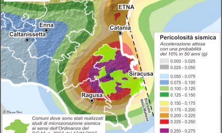 Mappa di pericolosità sismica della Sicilia Sud-orientale. In Provincia di Siracusa, solo 8 Comuni su 21 sono dotati di studi di Microzonazione Sismica.